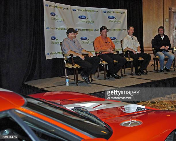 NASCAR driver Dale Jarrett Phil Mickelson and hockey star Wayne Gretzky attend a press conference with Ford marketing manager Marty Collins to...
