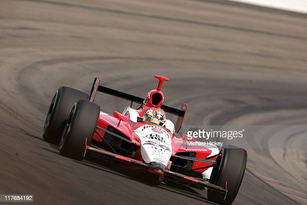 IRL driver Dan Wheldon practices for the Indy 500 at the Indianapolis Motor Speedway on May 11 2005