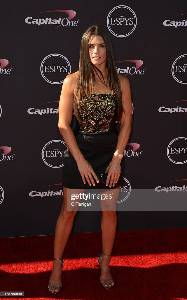 NASCAR driver <a gi-track='captionPersonalityLinkClicked' href=/galleries/search?phrase=Danica+Patrick&family=editorial&specificpeople=183352 ng-click='$event.stopPropagation()'>Danica Patrick</a> arrives at the 2013 ESPY Awards at Nokia Theatre L.A. Live on July 17, 2013 in Los Angeles, California.