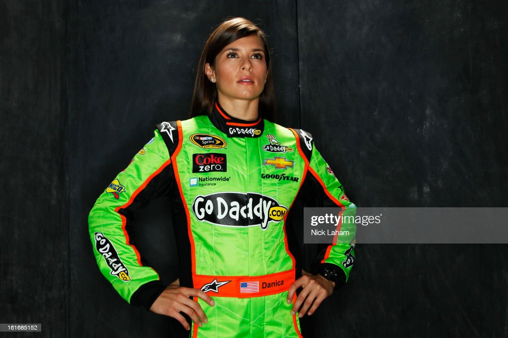 Driver <a gi-track='captionPersonalityLinkClicked' href=/galleries/search?phrase=Danica+Patrick&family=editorial&specificpeople=183352 ng-click='$event.stopPropagation()'>Danica Patrick</a> poses during portraits for the 2013 NASCAR Sprint Cup Series at Daytona International Speedway on February 14, 2013 in Daytona Beach, Florida.