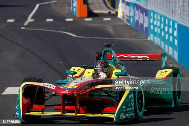 Driver Daniel Abt from Audi ABT Schaeffler on track during Formula E Qualcomm New York City ePrix on July 16 2017 in New York City