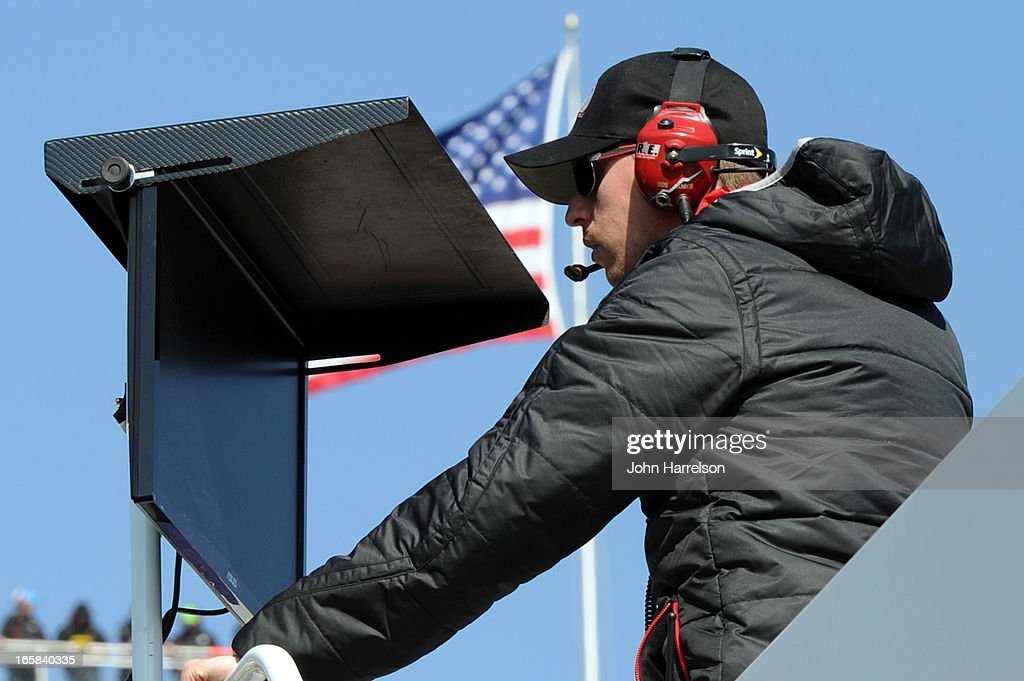 Driver <a gi-track='captionPersonalityLinkClicked' href=/galleries/search?phrase=Denny+Hamlin&family=editorial&specificpeople=504674 ng-click='$event.stopPropagation()'>Denny Hamlin</a> looks on during practice for the NASCAR Sprint Cup Series STP Gas Booster 500 on April 6, 2013 at Martinsville Speedway in Ridgeway, Virginia.