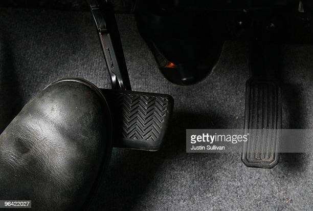 A driver depresses the brake pedals in a 2010 Toyota Prius February 4 2010 in San Francisco California The National Highway Traffic Safety...