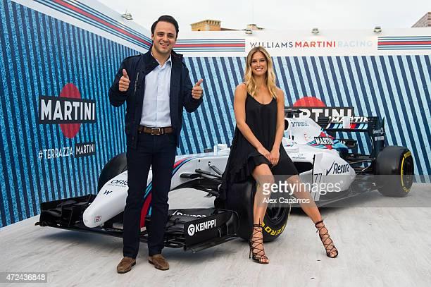 RACING driver Felipe Massa and Bar Refaeli pose with a WILLIAMS MARTINI RACING car at Terrazza MARTINI as she is announced as the global MARTINI Race...