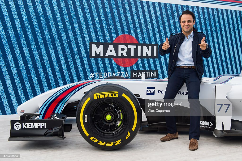RACING driver Felipe Massa poses with a WILLIAMS MARTINI RACING car at Terrazza MARTINI to announce Bar Refaeli as the global MARTINI Race ambassador. The VIP party kicked off the European Formula Oneª season in MARTINI style at Port Vell, Barcelona on Thursday 7 May 2015. Terrazza MARTINI is open throughout the Spanish Grand Prix weekend.