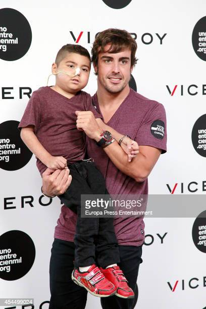 F1 driver Fernando Alonso and Uno Entre Cien Mil Foundation present a charity bracelet by Viceroy to fight against children Leukemia at Munreco Group...