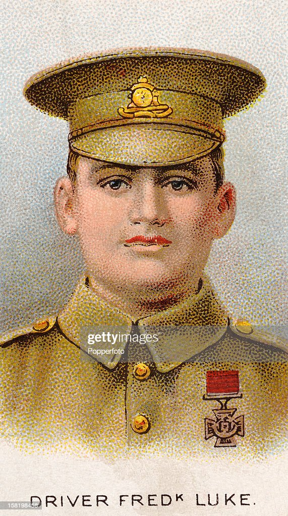 Driver Fred Luke who was awarded the Victoria Cross during World War One, featured on a vintage cigarette card published in 1915. Born in Lockerley, England, he served as a Driver in the 37th Battery, Royal Field Artillery, British Army. On August 26, 1914, in actions at Le Cateau, France, Driver Luke took part as a volunteer team to recapture two British guns under heavy German artillery and infantry fire. Although the enemy was within 100 yards Driver Luke with the help of an officer and another driver managed to get one gun away safely. For extreme gallantry, he was awarded the Victoria Cross on November 24, 1914. He later achieved the rank of Sergeant and served during World War II as a ground gunner with the Royal Air Force. He died at age 87 in Glasgow, Scotland.