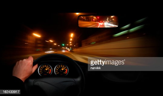 Driver going very fast through the town