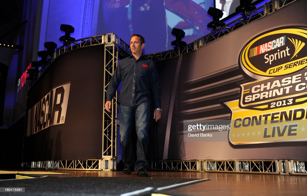 NASCAR driver <a gi-track='captionPersonalityLinkClicked' href=/galleries/search?phrase=Greg+Biffle&family=editorial&specificpeople=209093 ng-click='$event.stopPropagation()'>Greg Biffle</a> is introduced during the Chase for the Sprint Cup Contenders Live on September 12, 2013 in Chicago, Illinois.