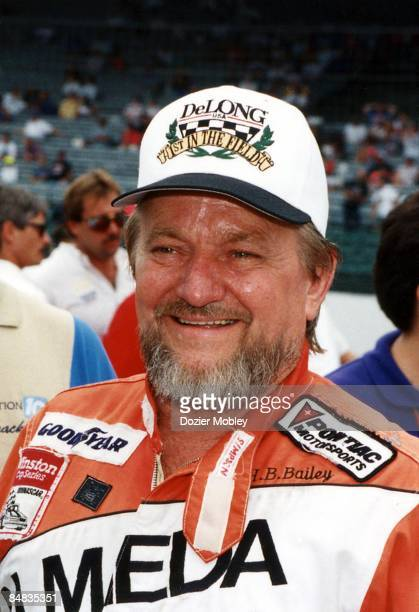 Driver H B Bailey smiles before the Miller Genuine Raft 400 race on June 20 1993 at the Michigan International Speedway in Brooklyn Michigan