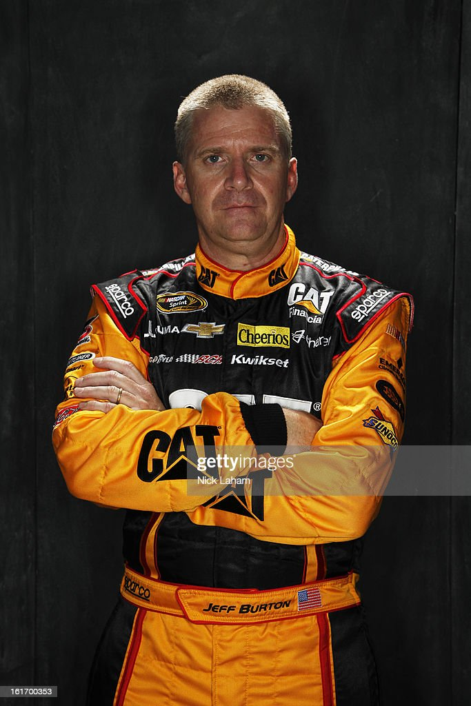 Driver <a gi-track='captionPersonalityLinkClicked' href=/galleries/search?phrase=Jeff+Burton&family=editorial&specificpeople=216559 ng-click='$event.stopPropagation()'>Jeff Burton</a> poses during portraits for the 2013 NASCAR Sprint Cup Series at Daytona International Speedway on February 14, 2013 in Daytona Beach, Florida.