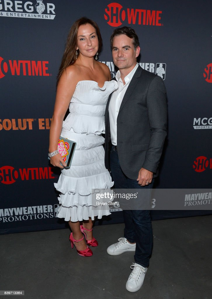 NASCAR driver Jeff Gordon (R) and guest attend the Showtime, WME IME and Mayweather Promotions VIP Pre-Fight party for Mayweather vs. McGregor at T-Mobile Arena on August 26, 2017 in Las Vegas, Nevada.