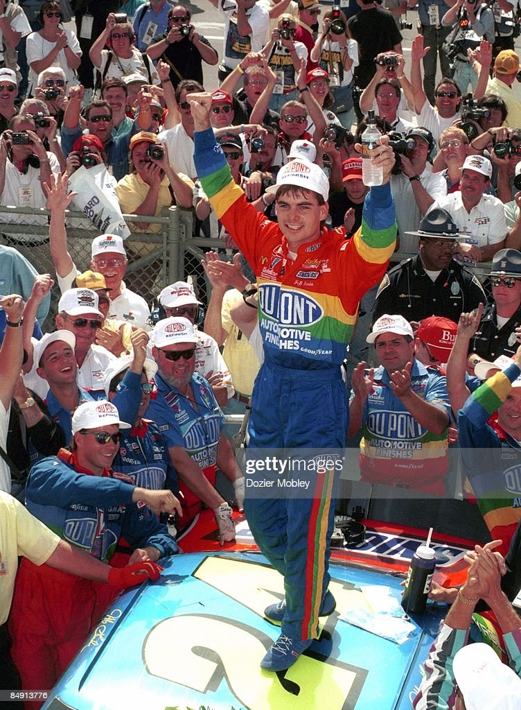 Driver Jeff Gordon celebrates in Victory Lane after winning the Brickyard 400 race on August 6, 1994 at the Indianapolis Motor Speedway in Speedway, Indiana.