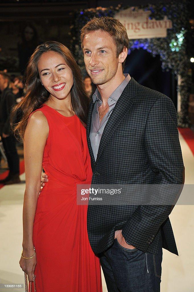 F1 driver Jenson Button and girlffriend Jessica Michibata attend 'The Twilight Saga: Breaking Dawn Part 1' UK Premiere, at Westfield Stratford City on November 16, 2011 in London, England.