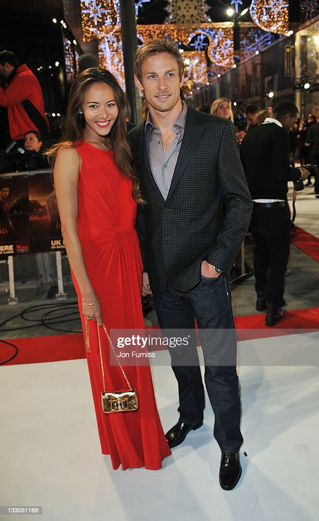 F1 driver <a gi-track='captionPersonalityLinkClicked' href=/galleries/search?phrase=Jenson+Button&family=editorial&specificpeople=171505 ng-click='$event.stopPropagation()'>Jenson Button</a> and girlffriend <a gi-track='captionPersonalityLinkClicked' href=/galleries/search?phrase=Jessica+Michibata&family=editorial&specificpeople=4193280 ng-click='$event.stopPropagation()'>Jessica Michibata</a> attend 'The Twilight Saga: Breaking Dawn Part 1' UK Premiere, at Westfield Stratford City on November 16, 2011 in London, England.