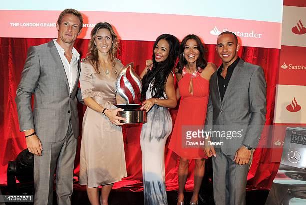 F1 driver Jenson Button Olympian Amy Williams radio presenter Sarah Jane Crawford TV presenter Melanie Sykes and F1 driver Lewis Hamilton attend the...