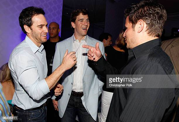 NASCAR driver Jimmie Johnson Eli Manning of the New York Giants and singer/TV personality Nick Lachey attend the Super Skins Kick Off Party at Hotel...
