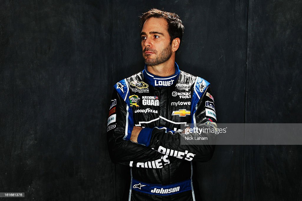 Driver <a gi-track='captionPersonalityLinkClicked' href=/galleries/search?phrase=Jimmie+Johnson+-+Nascar+Race+Driver&family=editorial&specificpeople=171519 ng-click='$event.stopPropagation()'>Jimmie Johnson</a> poses during portraits for the 2013 NASCAR Sprint Cup Series at Daytona International Speedway on February 14, 2013 in Daytona Beach, Florida.