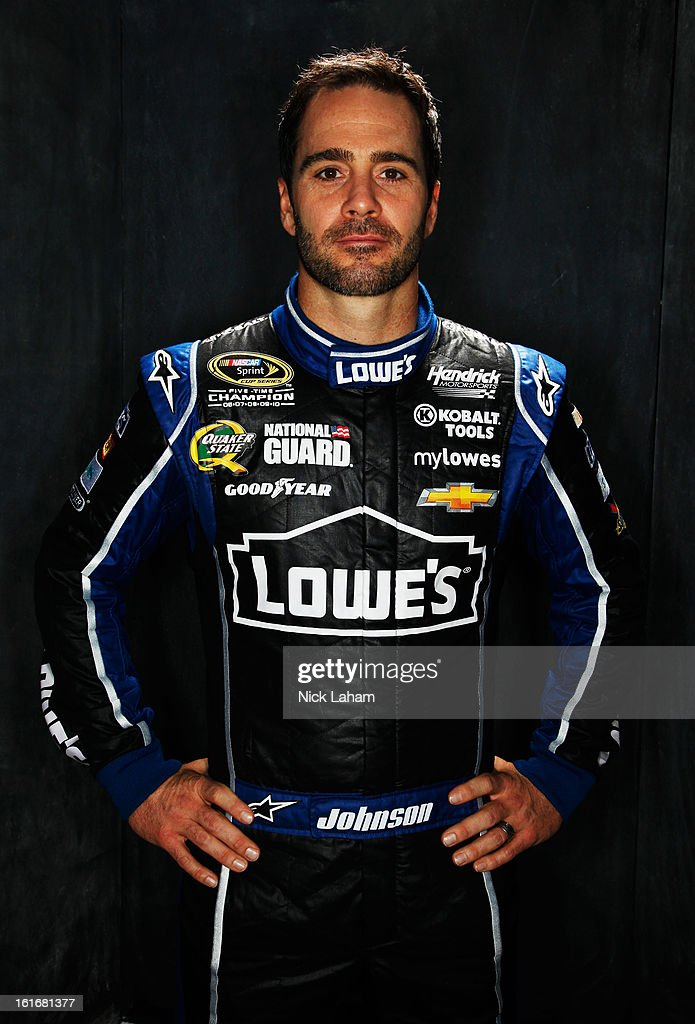 Driver Jimmie Johnson poses during portraits for the 2013 NASCAR Sprint Cup Series at Daytona International Speedway on February 14, 2013 in Daytona Beach, Florida.
