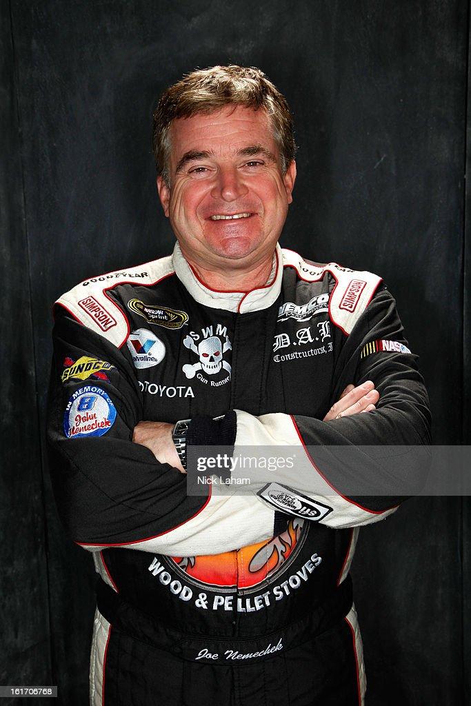 Driver Joe Nemechek poses during portraits for the 2013 NASCAR Sprint Cup Series at Daytona International Speedway on February 14 2013 in Daytona...