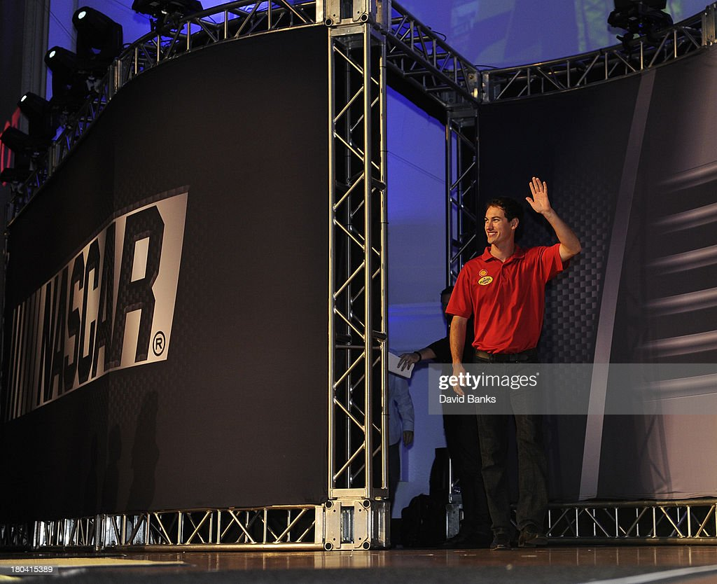 NASCAR driver Joey Logano is introduced during the Chase for the Sprint Cup Contenders Live on September 12, 2013 in Chicago, Illinois.