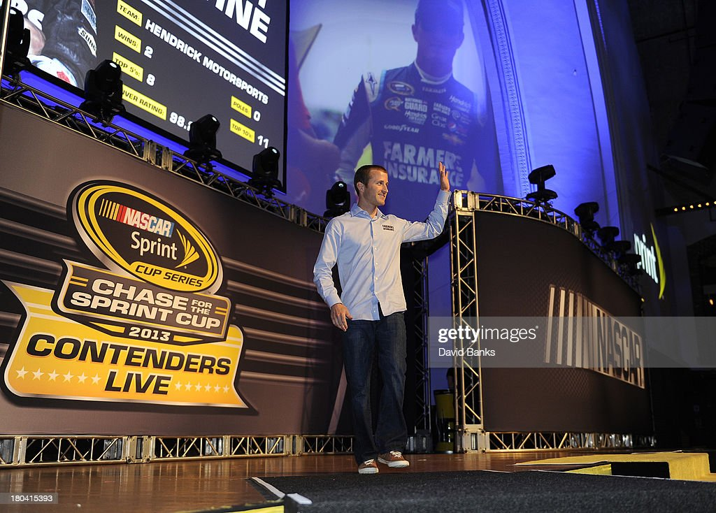 NASCAR driver Kasey Khane is introduced during the Chase for the Sprint Cup Contenders Live on September 12, 2013 in Chicago, Illinois.