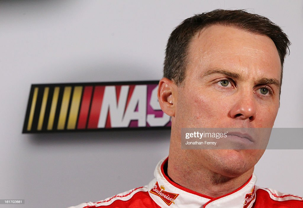 Driver <a gi-track='captionPersonalityLinkClicked' href=/galleries/search?phrase=Kevin+Harvick&family=editorial&specificpeople=209186 ng-click='$event.stopPropagation()'>Kevin Harvick</a> speaks to the media during 2013 NASCAR media day at Daytona International Speedway on February 14, 2013 in Daytona Beach, Florida.