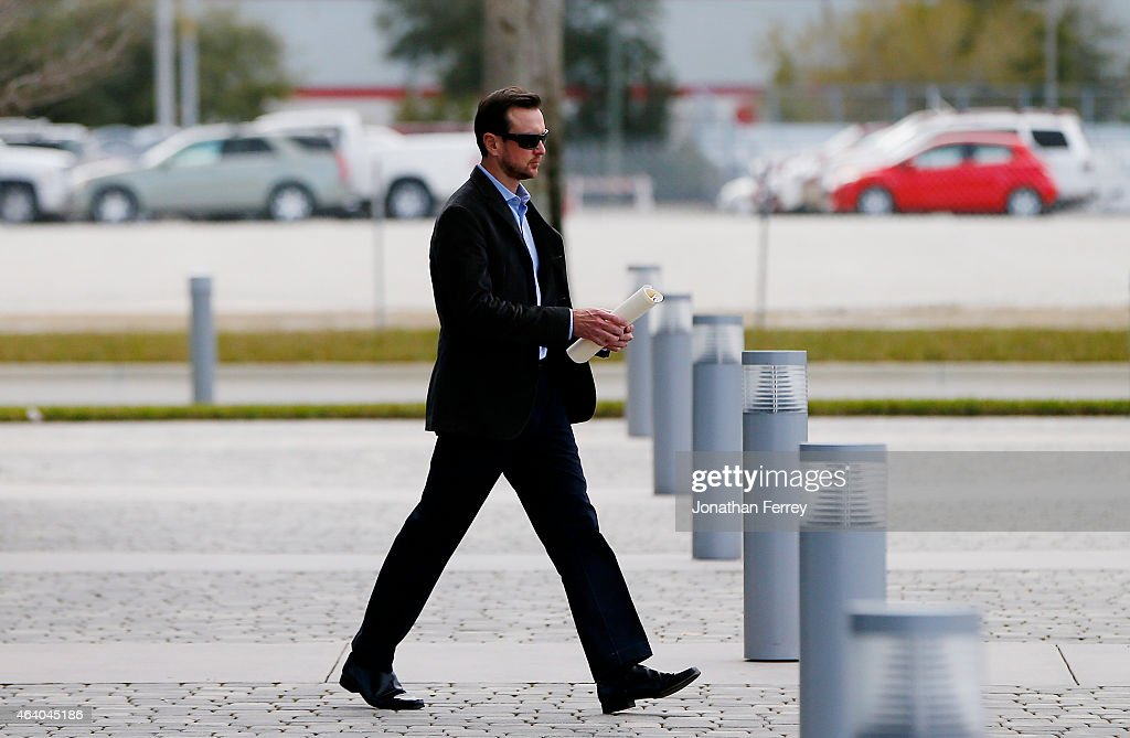 NASCAR driver Kurt Busch leaves the IMC building after a suspension appeal hearing on February 21 2015 in Daytona Beach Florida Busch was suspended...