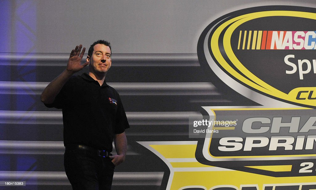 NASCAR driver <a gi-track='captionPersonalityLinkClicked' href=/galleries/search?phrase=Kyle+Busch&family=editorial&specificpeople=211123 ng-click='$event.stopPropagation()'>Kyle Busch</a> is introduced during the Chase for the Sprint Cup Contenders Live on September 12, 2013 in Chicago, Illinois.