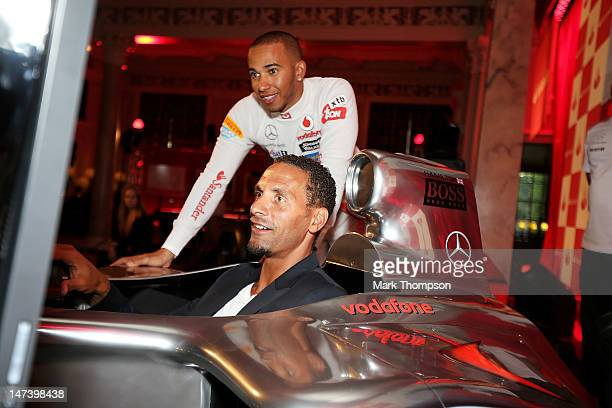 F1 driver Lewis Hamilton and footballer Rio Ferdinand attend the launch of the London Grand Prix by Santander at the Royal Automobile Club on June 28...