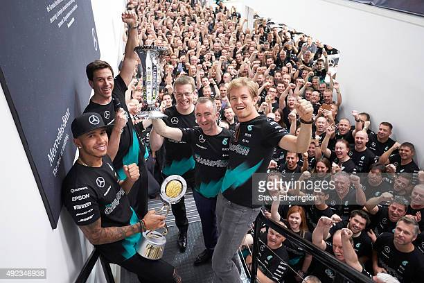 Driver Lewis Hamilton Head of MercedesBenz Motorsport Toto Wolff Managing Director Mercedes AMG High Performance Powertrains Andy Cowell Mercedes...