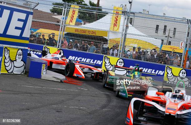 Driver Lucas di Grassi of Audi Sport ABT Schaeffler on track during the Formula E Qualcomm New York City ePrix on July 15 2017 in New York City