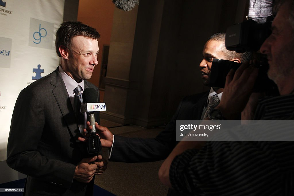 NASCAR driver <a gi-track='captionPersonalityLinkClicked' href=/galleries/search?phrase=Matt+Kenseth&family=editorial&specificpeople=204192 ng-click='$event.stopPropagation()'>Matt Kenseth</a> is interviewed as he arrives at 'Speeding For A Cure', a gala to benefit Autism Speaks held at the Metropolitan Museum of Art on March 12, 2013 in New York City.