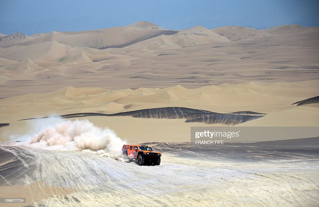 US driver Robby Gordon steers his Hummer during Stage 3 of the Dakar Rally 2013 between Pisco and Nazca, Peru, on January 7, 2013. The rally will take place in Peru, Argentina and Chile from January 5-20.