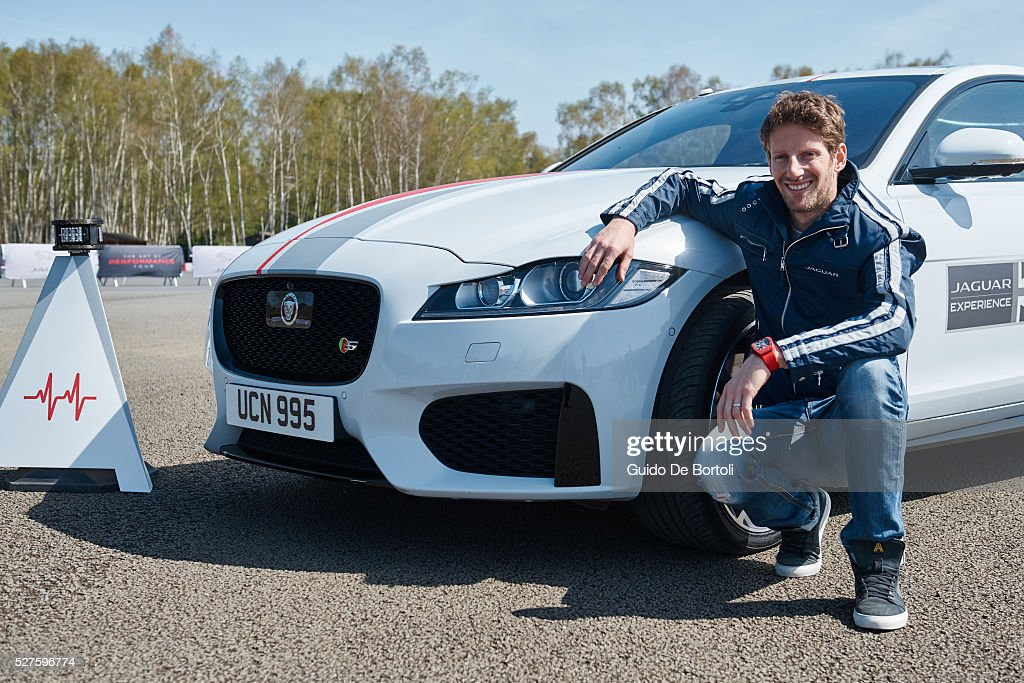 F1 Driver <a gi-track='captionPersonalityLinkClicked' href=/galleries/search?phrase=Romain+Grosjean&family=editorial&specificpeople=4858519 ng-click='$event.stopPropagation()'>Romain Grosjean</a> is the first to try the innovative Jaguar 'Smart Cones' driving challenge in a Jaguar XF. Drivers around the world invited to beat Romain's benchmark score as part of Jaguar's global 'Art of Performance' tour, starting soon in Europe. Watch the video here; https://youtu.be/d3n9Fmu3Rxs. Over the next 12 months the The Art of Performance tour will visit more than 600 venues in 46 countries, welcoming more than 100,000 guests to have a Jaguar driving experience.