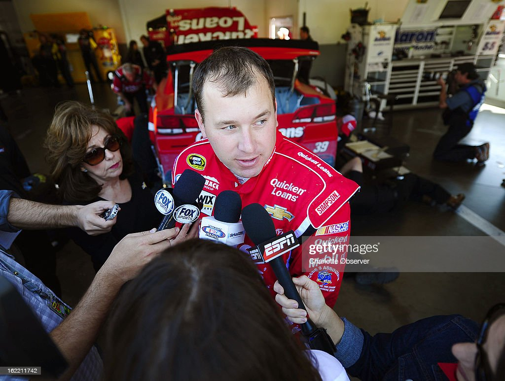 NASCAR driver Ryan Newman is interviewed after running practice laps on Wednesday, Febraury 20, 2013, at Daytona International Speedway in Daytona, Florida.
