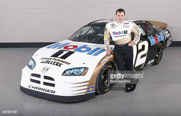 NASCAR driver Ryan Newman shows how his Alltel/Mobil 1 car will look for the UAWDaimlerChrysler 400 race in Las Vegas Newman's car will be one of...