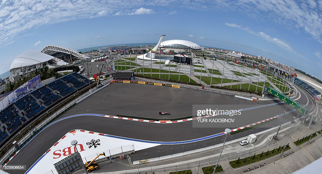 A driver steers his car during the first practice session of the Formula One Russian Grand Prix at the Sochi Autodrom circuit on April 29, 2016. / AFP / YURI