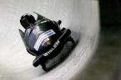 Driver Steven Holcomb competes in his second run of the 2man bobsled competition during the FIBT Bob Skeleton World Cup on November 21 2009 at the...