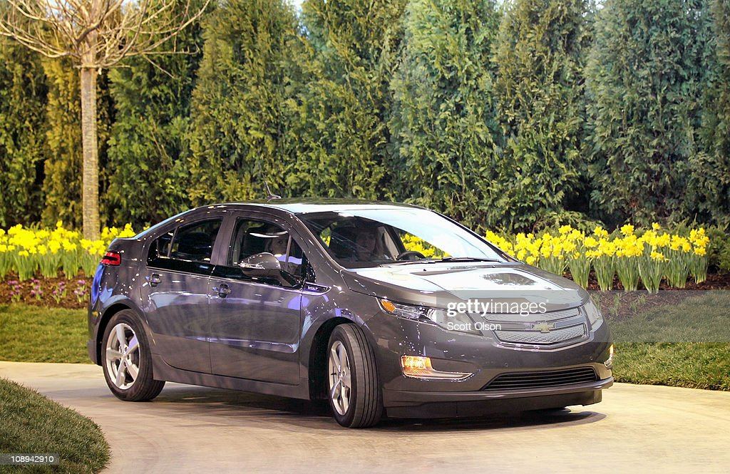 A driver takes a test ride in a Chevrolet Volt on a test track at the Chicago Auto Show at McCormick Place on February 9, 2011 in Chicago, Illinois. The show opened for media previews today and is open to the general public February 11.