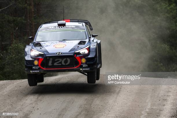 Driver Thierry Neuville of Belgium and his codriver Nicolas Gilsoul of Belgium steer their Hyundai i20 Coupe WRC during 7th stage Jukojärvi of the...