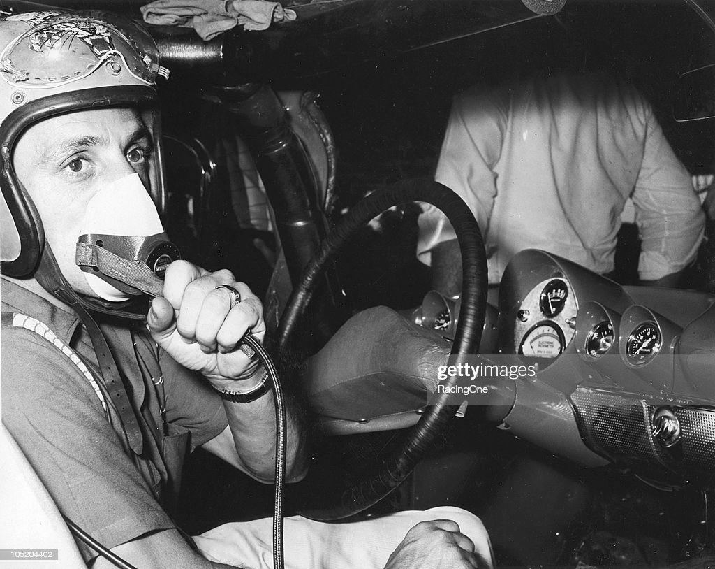 NASCAR driver Tom Pistone displays his special builtin breathing apparatus installed in his NASCAR Cup car in case he ended up submerged in Lake...