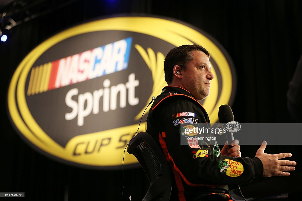 Driver <a gi-track='captionPersonalityLinkClicked' href=/galleries/search?phrase=Tony+Stewart+-+Race+Car+Driver&family=editorial&specificpeople=201686 ng-click='$event.stopPropagation()'>Tony Stewart</a> speaks to the media during 2013 NASCAR media day at Daytona International Speedway on February 14, 2013 in Daytona Beach, Florida.