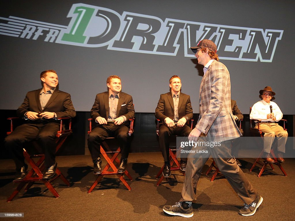 Driver Travis Pastrana is introduced as teammates Trevor Bayne, Ricky Stenhouse Jr., Carl Edwards and team owner Jack Roush watch on during the 2013 NASCAR Sprint Media Tour on January 24, 2013 in Concord, North Carolina.