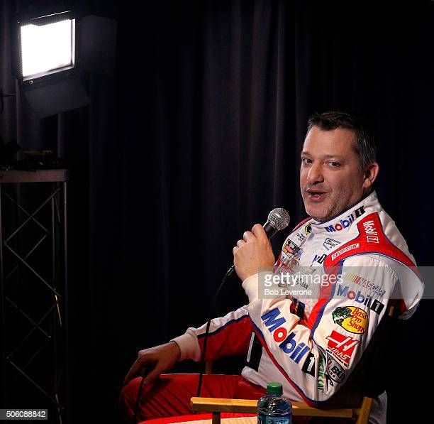 Driver/car owner Tony Stewart answers a question during the NASCAR 2016 Charlotte Motor Speedway Media Tour on January 21 2016 in Charlotte North...
