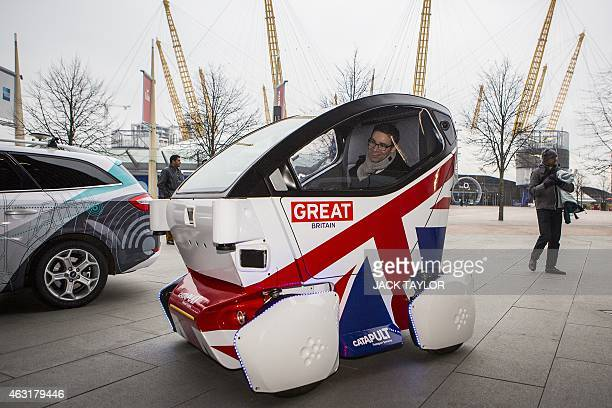 A driverless vehicle known as a Lutz 'Pathfinder' Pod is pictured during a photocall in central London on February 11 2015 The British government...