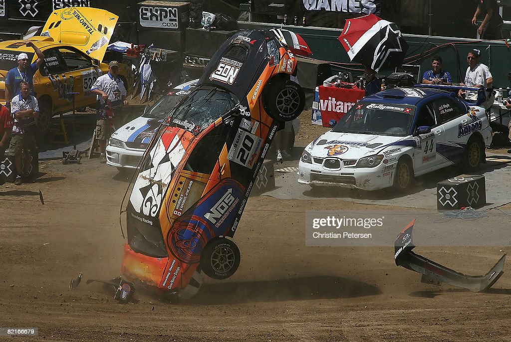 Drivers Andrew Comrie-Picard and Jen Horsey flip their car in a crash during the Rally Car race at summer X Games 14 at Home Depot Center on August 3, 2008 in Carson, California.