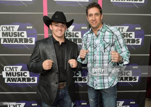 NASCAR drivers Austin Dillon and Elliott Sadler attend the 2013 CMT Music awards at the Bridgestone Arena on June 5 2013 in Nashville Tennessee