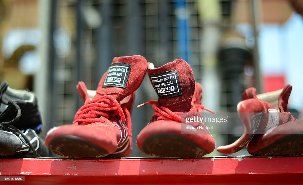 Drivers boots dry out on the rest day of the 2013 Dakar Rally on January 13, 2012 in Tucuman, Argentina.