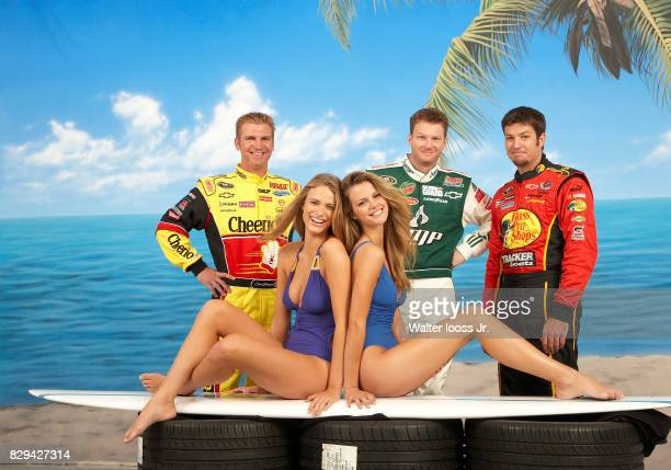 NASCAR drivers Clint Bowyer Dale Earnhardt Jr and Martin Truex Jr are photographed with Sports Illustated swimsuit models Brooklyn Decker and Julie...